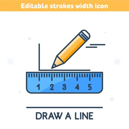 A pencil is drawing a horizontal line with ruler. Outline colorful icon. A linear symbol of school equipment. Concept of  measurement, Back to school. Vector illustration with editable strokes width.