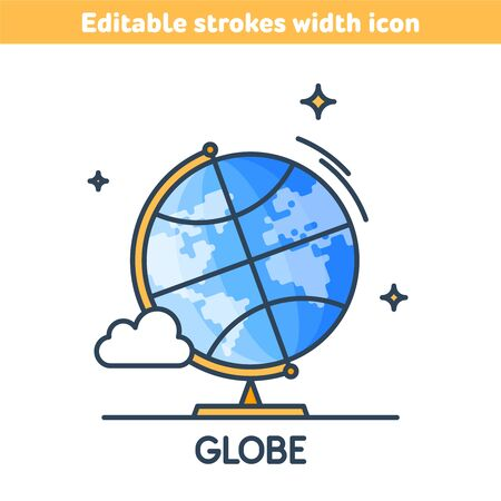 The school globe outline color icon. World map linear symbol. Concept of education, learning, Back to school. Earth model line icon with editable strokes width. Educational supply vector illustration.