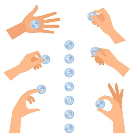 A hands are holding, taking and giving the silver coins. The fee, earnings, payment, shopping, banking concept set. Flat vector illustration of human hand with metal money isolated on white background