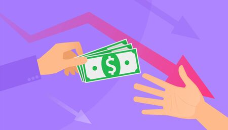 An unemployment benefits and cash assistance. A hand holds the pack of paper money, another takes them. A financial assistance, monetary support, economic crisis flat vector concept hd illustration.