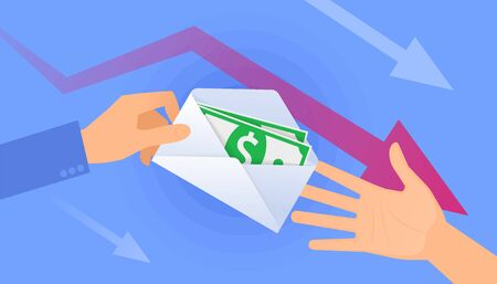 An unemployment benefits and cash allowance. A hand holds the envelope with paper money, another hand takes them. A jobless, quarantine, poverty, dismissal, crisis flat vector concept hd illustration.