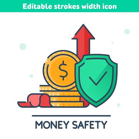 Money safety and protection outline icon. The golden coins hides behind green shield, red growth arrow at the back. The deposits reliability and security, savings care concept vector illustration.