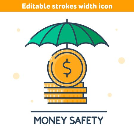The golden coins under green umbrella. The money safety and protection outline icon. The deposits reliability and security, cash care, business and capital conservation concept vector illustration. 向量圖像