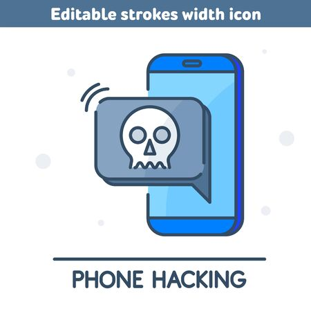 A hackers hacked the phone and stole the data. A thieves demand money via mobile app. The smartphone security and protection outline icon. Concept vector illustration with editable strokes width.