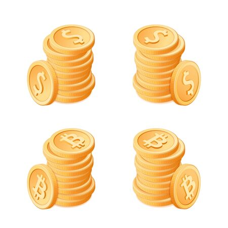 Flat isometric illustration of piles of golden coins: dollars and bitcoins. The stacks of cash money set. Crypto, currency, blockchain, business, banking vector concept isolated on white background. 向量圖像
