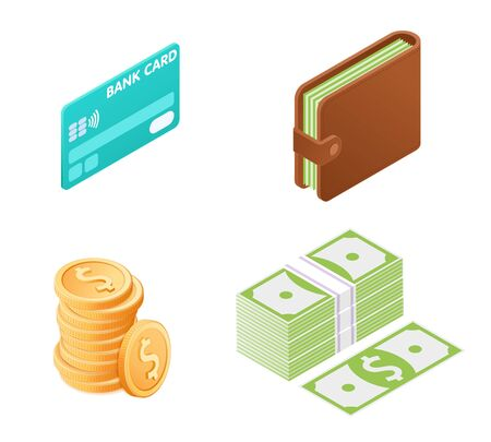 Flat illustration of money isometric icon set. The credit card with e-money, wallet with paper dollars, pile of coins, stack of banknotes. Business symbols vector concept isolated on white background.