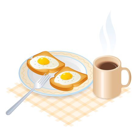 Flat isometric illustration of plate with scrambled eggs on the toasts, a cup of coffee. The fried chicken eggs on a crisp bread on the the dish, a mug of hot coffee. The breakfast vector concept.