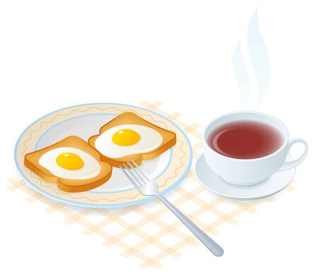 Flat isometric illustration of dish with scrambled eggs on a toasts. The fried hen eggs on a crispy bread on the plate, fork, a cup of hot black tea. Vector food elements isolated on white background.
