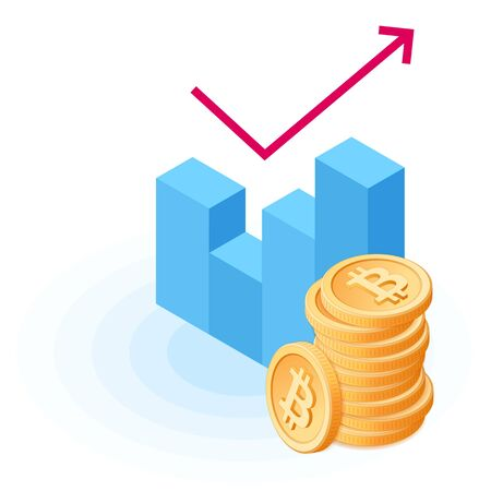 Flat isometric illustration of a pile of bitcoins at the growth graph.