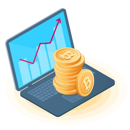 Flat isometric illustration of pile of bitcoins on the office laptop, increasing graph on the screen. The business growth, money, profit, success, e-commerce, blockchain, cryptocurrency vector concept