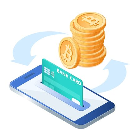 Flat isometric illustration of pile of bitcoins, the phone with a credit card in the slot. The transfer, e-commerce, blockchain, cryptocurrency, business, deposit money into an account vector concept. 向量圖像