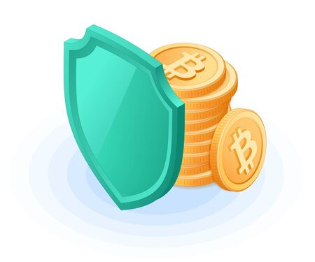 Flat isometric illustration of pile of bitcoins hides behind a shield. 向量圖像