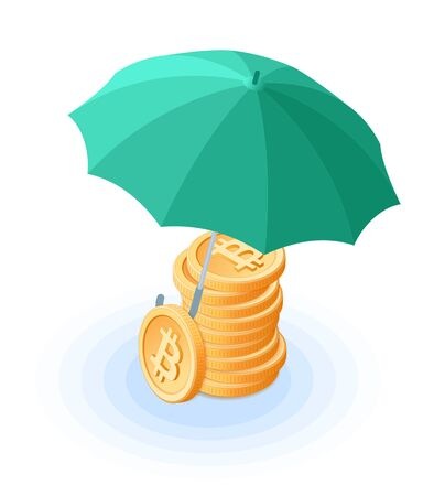 Flat isometric illustration of pile of bitcoins under the umbrella. The reliability and safety, money protection, cash care, business, banking, e-commerce, blockchain, cryptocurrency vector concept. 向量圖像