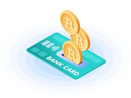 Flat isometric illustration of bitcoins droping into credit card. The depositing money into an account, e-commerce, business growth, earnings, profit, success, vector concept isolated on white background