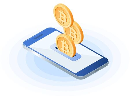 Flat isometric illustration of bitcoins droping into slot at the mobile phone screen. The depositing money into an account, e-commerce, blockchain, cryptocurrency, business vector concept illustration.