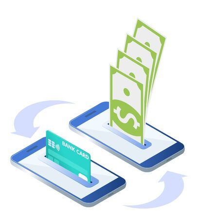 The money transfer process. Flat isometric isolated illustration. The sending and receiving banknotes with mobile phones and credit card. The banking, transaction, payment, business vector concept.