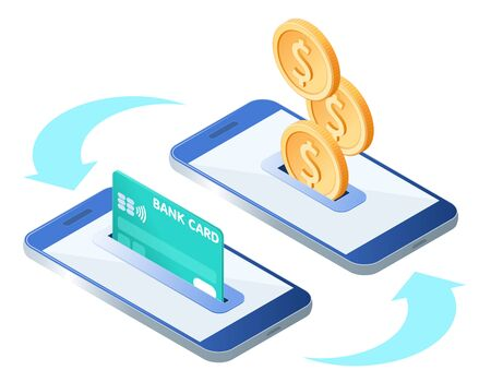 The money transfer process. Flat isometric isolated illustration. The sending and receiving coins with mobile phones and credit card. The banking, transaction, payment, business vector concept.