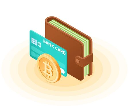 Flat isometric illustration of the wallet with banknotes, credit card, bitcoin. The business growth, money, earnings, profit, success, e-commerce, blockchain, cryptocurrency vector isolated concept.