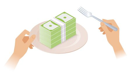 The stack of money on the plate. Businessman's hands are holding the plate with pile of paper dollars and a fork. Flat isometric business concept illustration depicts a profit, success, rich, wealth.