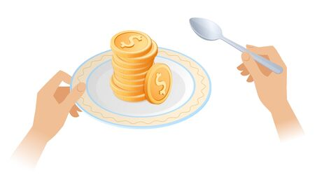 The pile of coins on the dish. Businessman's hands are holding the plate with stack of golden dollars and a spoon. Flat isometric business concept illustration depicts a success, rich, wealth, money.