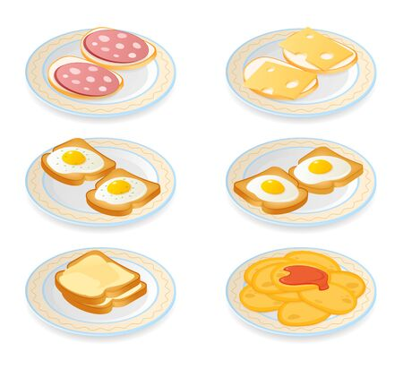 Flat isometric illustration of the plates with morning meal set. The cheese and sausage sandwiches, pancakes, eggs, bread and butter on a dishes. The cooking food, breakfast snacks vector element set.
