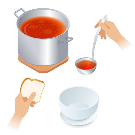 Flat isometric illustration of saucepan with tomato soup, hands with piece of bread and ladle, empty bowl. Steel pan with vegetable broth, kitchen utensils. Cooking and eating food vector concept.