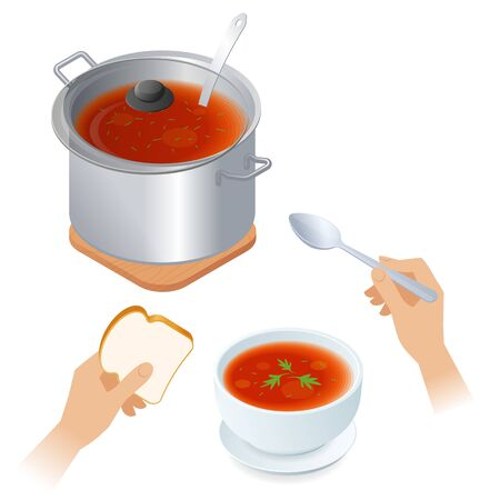 Flat isometric illustration of saucepan with tomato soup, hands with piece of bread and spoon, full bowl. Steel pan with vegetable broth and lid, kitchen utensils. Cooking, eating meal vector concept.