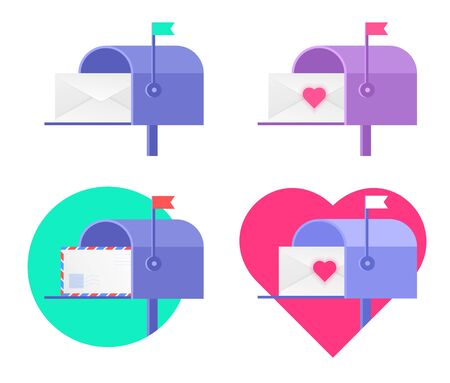 There are different envelopes in the mailboxes. Flat vector illustration of postboxes with avia letter, blank envelope, valentine card with heart. Receiving a correspondence, postal, mail concept set. Illustration