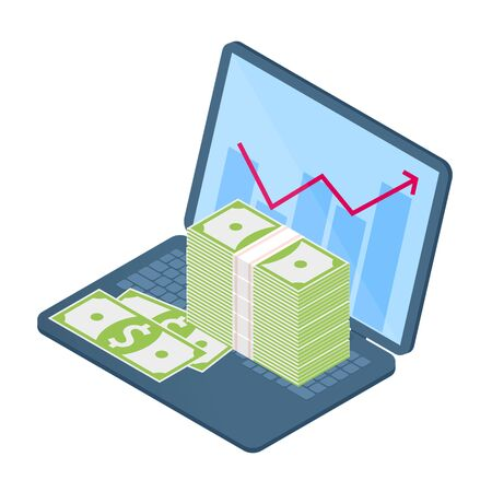 Flat isometric illustration of stack of banknotes on the office laptop, growth graph on the screen. The business increase, money, earnings, profit, success, vector concept isolated on white background 向量圖像