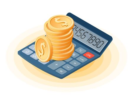 Flat isometric illustration of stack of coins on the office accounting electronic calculator. The business growth, earnings, profit, success, vector concept illustration isolated on white background. 向量圖像