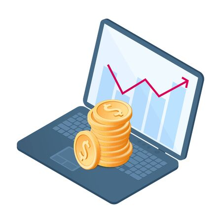 Flat isometric illustration of stack of coins at the growth graph. The business increase, money, earnings, profit, wealth, success, premium vector concept isolated on white background. 向量圖像