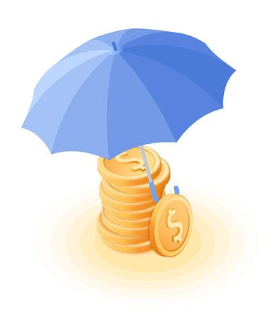 Flat isometric illustration of pile of coins under the umbrella. The reliability and safety of deposits, money protection and cash care, business, banking vector concept isolated on white background.