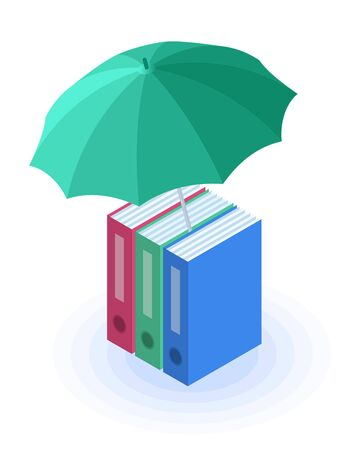 Flat isometric illustration of folders with documents under the umbrella. The protect and safety of data, confidential information protection, business care vector concept isolated on white background