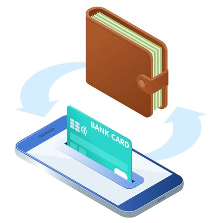Flat isometric illustration of the phone with a credit card in the slot, wallet with banknotes. The money transfer, e-commerce, business transaction vector concept isolated on white background.