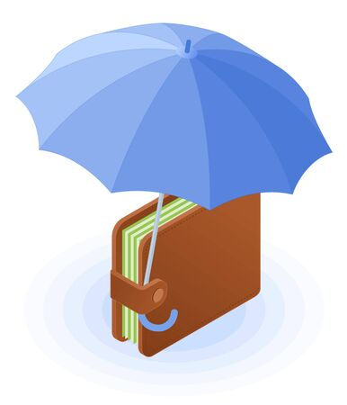 Flat isometric illustration of wallet with banknotes under the umbrella. The reliability and safety of deposits, money protection and cash care, business, banking vector concept isolated on white.
