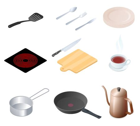Flat isometric illustration of kitchen utensils, kitchenware and cookware set. The cooking equipment, cuisine accessories, crockery vector elements isolated on white background. 向量圖像