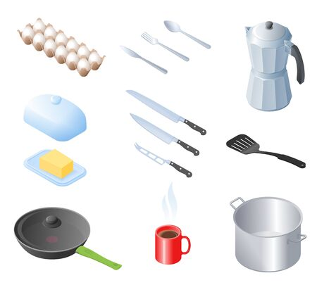 Flat isometric illustration of kitchen utensils, kitchenware, cookware set. The cooking equipment, cuisine accessories, crockery, foodstuffs, ingredients vector elements isolated on white background.