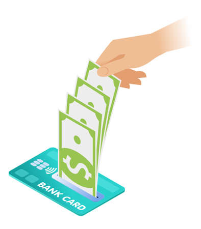 Flat isometric illustration of a hand is taking banknotes out of a credit card. The businessman's hand is holding and getting out paper money. Vector business concept isolated on white background.