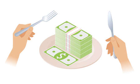 The stack of money on the plate. Businessman's hands are holding the fork and knife. Dish with pile of paper dollars. Flat isometric business concept illustration of a profit, success, rich, wealth.