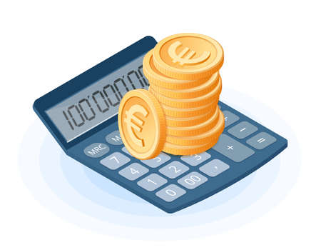 Flat isometric illustration of pile of euro coins on the office accounting electronic calculator. The business growth, increasing earnings, european currency, profit, success isolated vector concept.