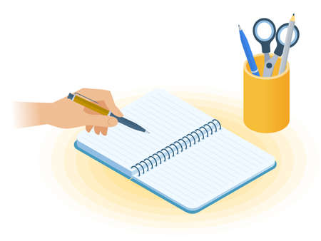 Flat vector isometric illustration of copybook, hand holding a pen, desktop organizer. Office, business workplace concept: paper notepad, stationery. School, education workspace paperwork supplies. Иллюстрация
