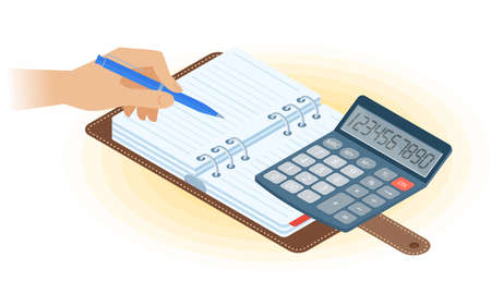 Flat vector isometric illustration of agenda, hand writing with pen, math calculator. Office, business workplace concept: paper planner, accounting calculator. School, education workspace supplies. Ilustración de vector