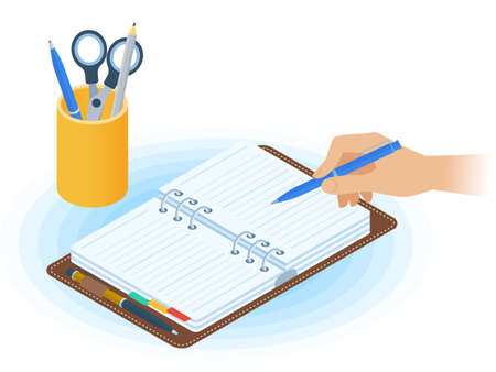 Flat vector isometric illustration of planner, hand writing with pen, desktop organizer. Office, business workplace concept: paper agenda, stationery. School, education workspace paperwork supplies. Иллюстрация