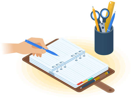 Flat vector isometric illustration of agenda, hand holding a pen, desktop organizer. Office, business workplace concept: paper planner, stationery. School, education workspace paperwork supplies. Иллюстрация