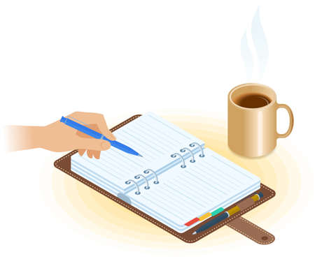 Flat vector isometric illustration of agenda, hand writing with pen, mug of coffee. Office and business breakfast workplace concept: paper planner, hot cup. School, education workspace supplies.