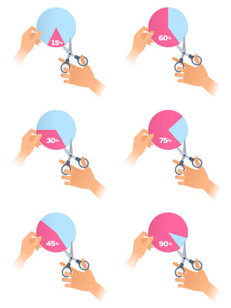 Human hand with a scissors cuts off a different percent pieces of a pie chart. Flat illustration of a steel office shears cutting out a various percentage from profit. Vector business concept.