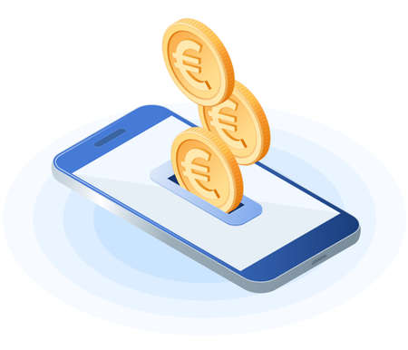 Flat isometric illustration of euro coins droping into slot at the mobile phone screen. The depositing European money into account, e-commerce, business vector concept illustration isolated on white.