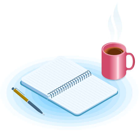 Flat vector isometric illustration of opened copybook, pen, mug of coffee. Office and business breakfast workplace concept: paper notepad and hot cup. School and education workspace supplies.