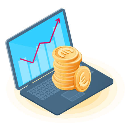 Flat isometric illustration of pile of euro coins on the office laptop, increasing graph on the screen. Business growth, money, european currency, earnings, profit, success, isolated vector concept.