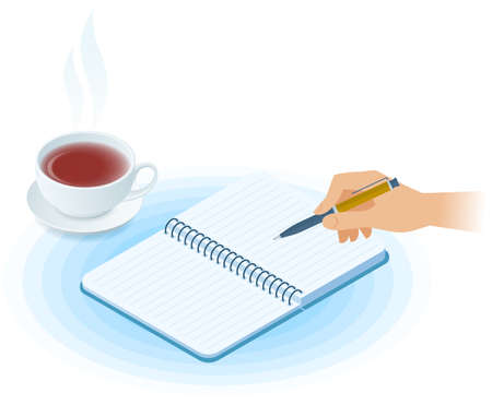 Flat vector isometric illustration of notebook, hand writing with pen, cup of tea. Office and business breakfast workplace concept: paper notepad, hot mug. School, education workspace supplies. Иллюстрация